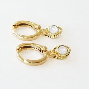 Small charm gold huggie hoop earrings